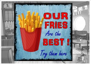 French Fries Cafe Sign Plaque
