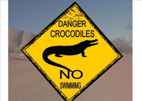 Australia Style Crocodile Road Sign