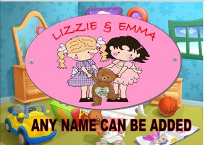Twin Girls Childrens Door Plaques