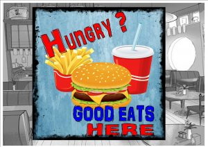 Cafe Burger Sign Wall Plaque