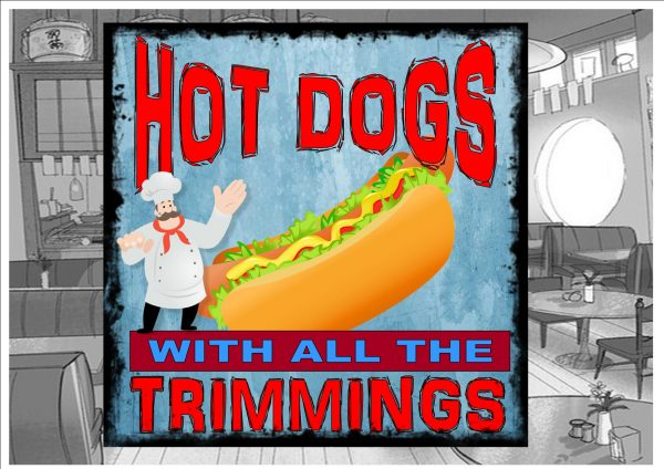 Hot Dogs Cafe Sign Wall Plaque