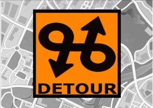 Comedy USA Detour Road Sign