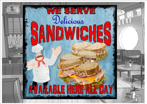 Sandwich Shop Sign Plaque