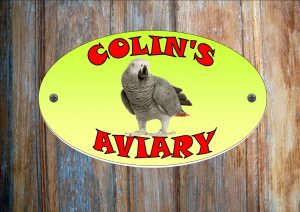 African Grey Parrot Personalised Aviary Sign