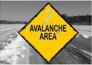 Avalanche area Ice Road Sign