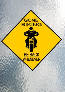 Gone Biking Hanging Sign