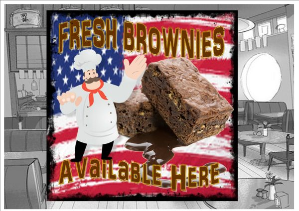 Brownies Cafe Sign Wall Plaque