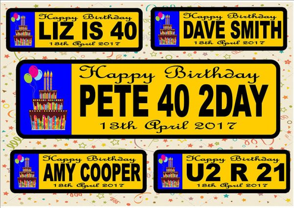 Birthday Number Plate/Licence Plate