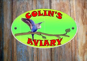 Budgie Blue Personalised Aviary Sign