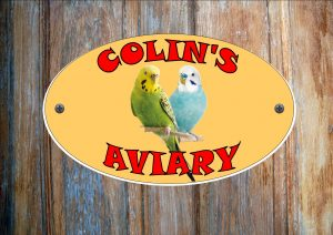 Budgie Mixed Colours Personalised Aviary Sign