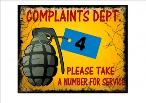 COMPLAINTS Dep't Shop Sign