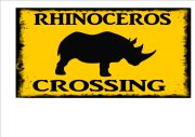 Rhinoceros Crossing Sign