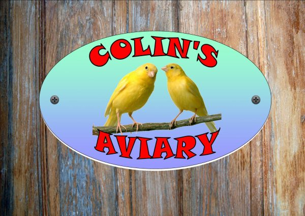 Canary Yellow Personalised Aviary Sign