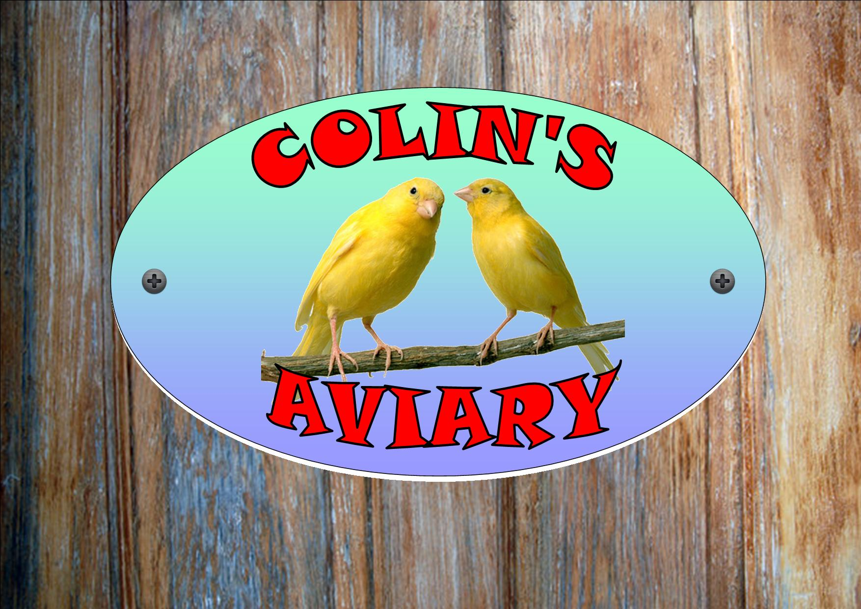 Canary Personalised Aviary Sign Yellow Bird The Rooshty