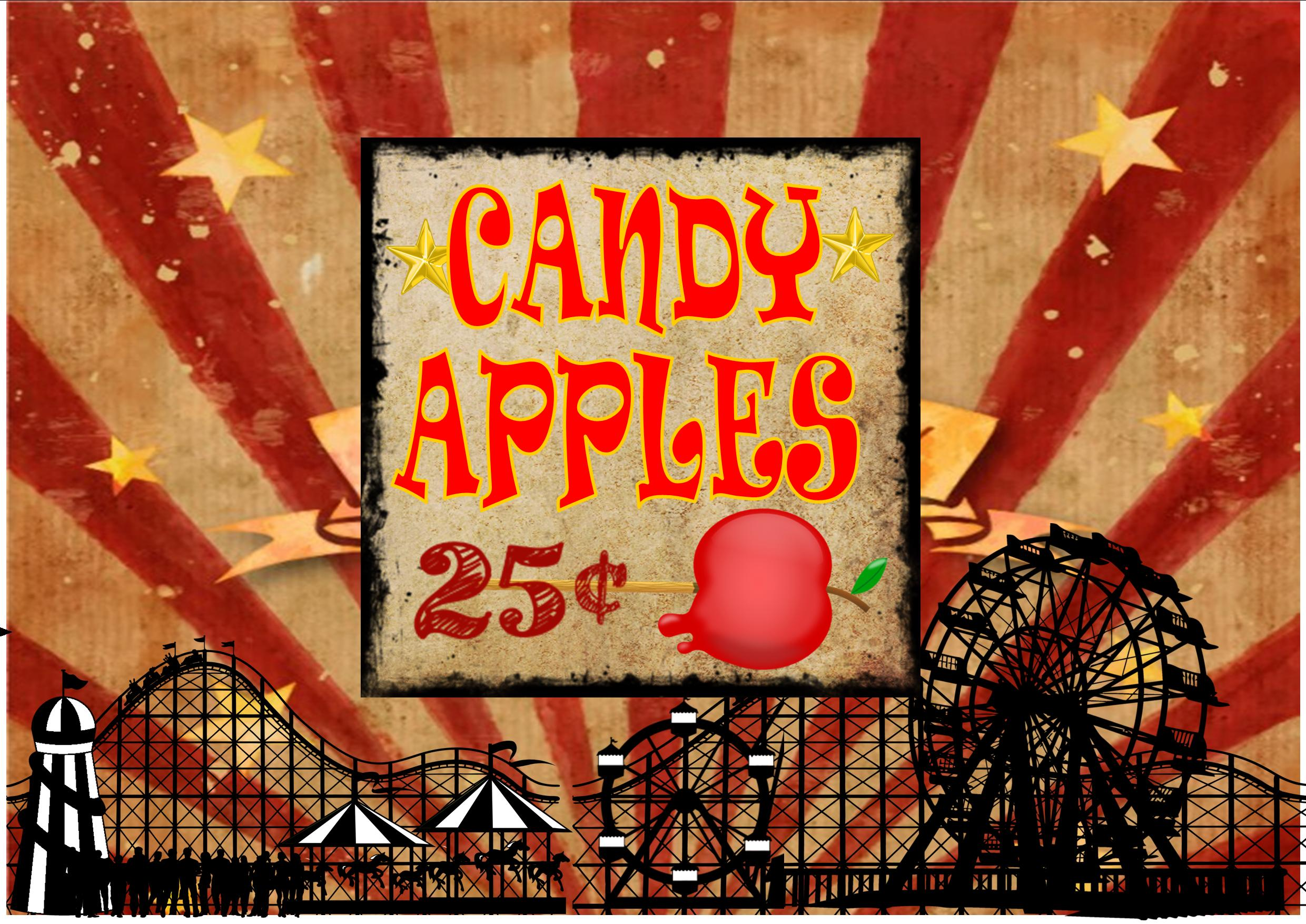 Vintage Style Candy Apple Fairground Carnival Sign Wall