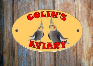 Cockertiel Personalised Aviary Sign