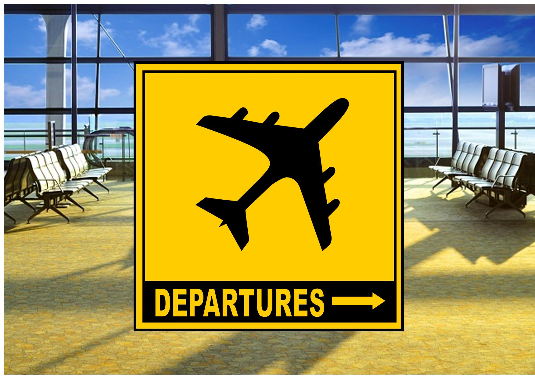 Airport Departures Sign The Rooshty Beach