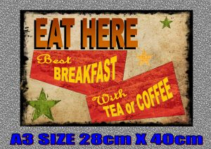 EAT HERE Breakfast sign