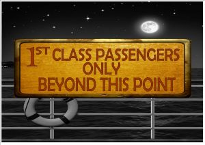 Cruise Ship First Class Passengers Sign