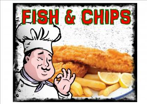VINTAGE FISH AND CHIPS SIGN