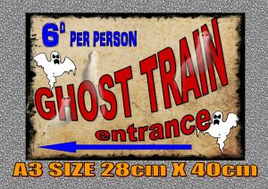 Vintage Fairground Ghost Train Sign