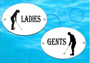 Golf Ladies & Gents Toilet Signs