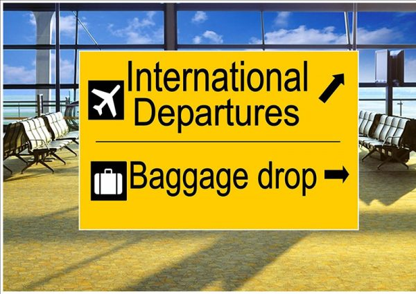 International Departure Sign