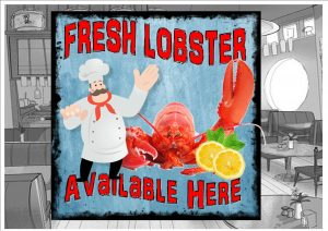 Fresh Lobster Cafe Sign Wall Plaque