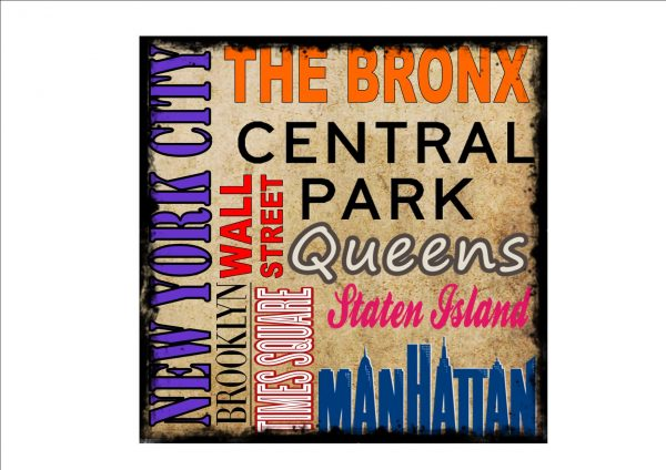 New York City District Vintage Style Sign
