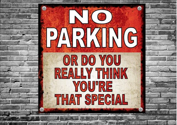 No Parking Novelty Metal Sign