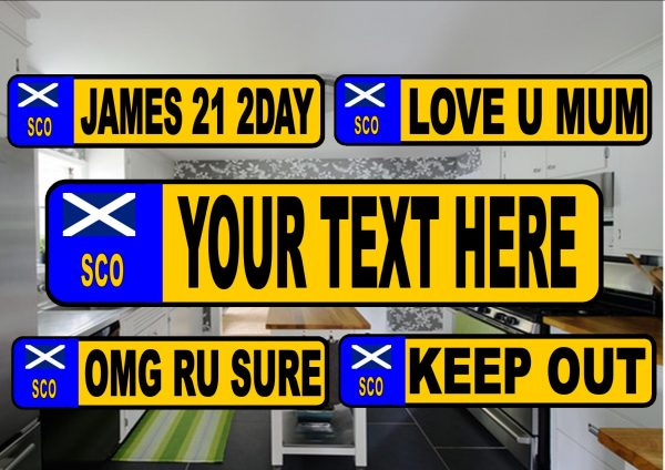 Novelty Number Plate Fridge Magnet Scotland