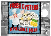 Fresh Oysters Cafe Sign Wall Plaque