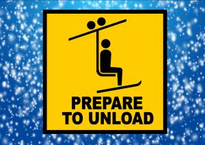 Prepare to unload skiing sign