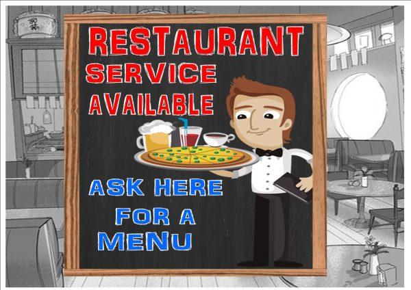 Restaurant Service Here Cafe Sign