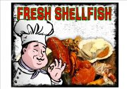 VINTAGE FRESH SHELLFISH SIGN