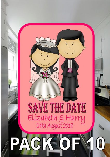 Save The Date Metal Fridge Magnet Pink