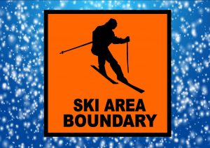 Ski area boundary sign