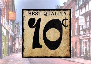 Vintage Style American Shop Price Sign 10c