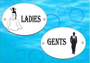 Wedding Couple Ladies & Gents Toilet Sign