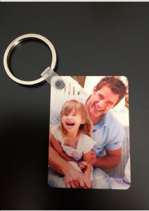 Personal Photo Wooden Key Ring Medium Rectangle