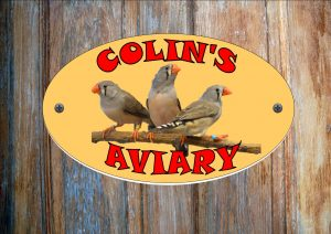 Zebra Finch Personalised Aviary Sign