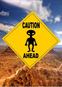 Novelty Alien Ahead Sign