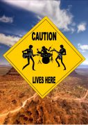 Rock Band Lives Here Sign