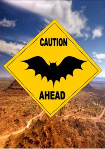 Caution Bats Ahead Sign