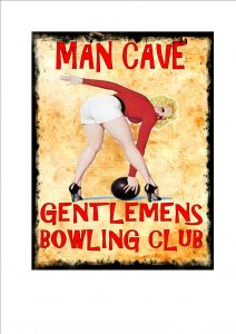 Bowling Novelty Man Cave Sign Wall Plaque