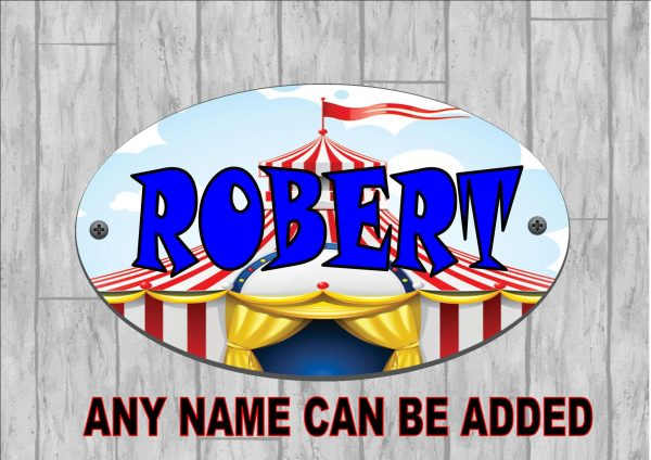 Boys Personalised Door Sign Circus Big Top