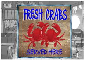 Fresh Crab Cafe Sign Wall Plaque