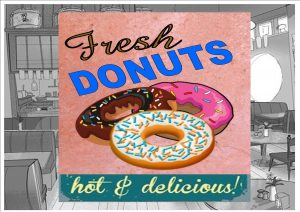 Fresh Donuts Cafe Sign Wall Plaque