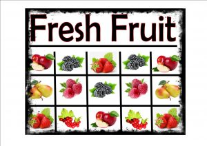 Fresh Fruit Selection Sign