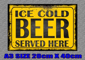 ice cold beer advertising sign